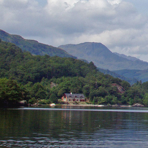 Loch Lomond with mountain backdrop